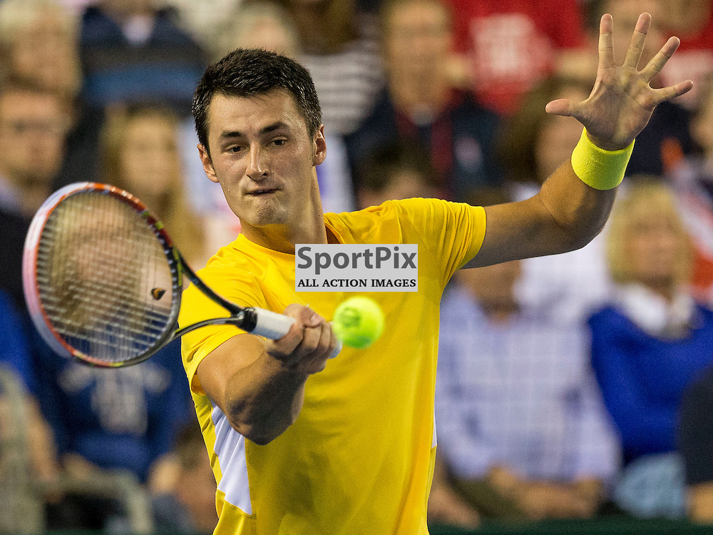 Davis Cup semi-final: Great Britain v Australia<br /> <br /> Andy Murray v Bernard Tomic during Sunday's first Rubber.<br /> <br /> <br /> Picture: Alan Rennie