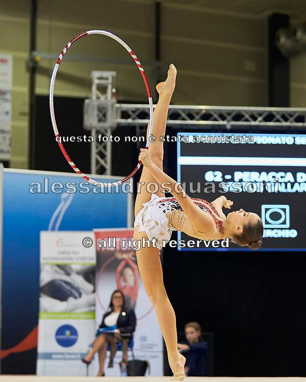 Denise Peracca from Virtus Gallarate team during the Italian Rhythmic Gymnastics Championship in Padova, 25 November 2017.