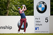 English golf professional David Horsey  tees off on the 5th  during the BMW PGA Championship at the Wentworth Club, Virginia Water, United Kingdom on 26 May 2016. Photo by Simon Davies.