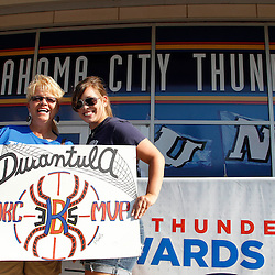 Jun 12, 2012; Oklahoma City, OK, USA;  Oklahoma City Thunder fans Laura Mecelroy (left) and Taylor Mecelroy (right) outside prior game one in the 2012 NBA Finals against the Miami Heat at the Chesapeake Energy Arena.  Mandatory Credit: Derick E. Hingle-US PRESSWIRE