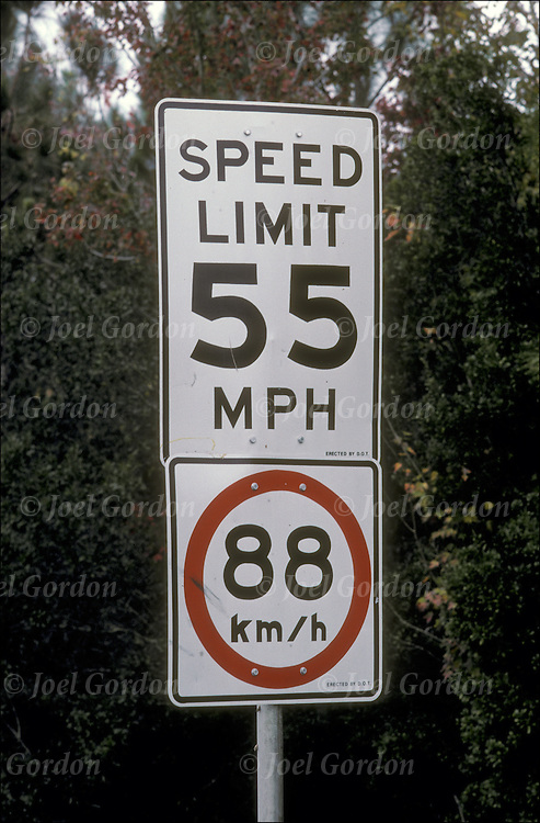 Highway traffic speed limit sign (55 mph and 88 km/h)in both miles and kilometers.