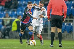 10.03.2016, St. Jakob Park, Basel, SUI, UEFA EL, FC Basel vs Sevilla FC, Achtelfinale, Hinspiel, im Bild Taulant Xhaka (Basel) Cristoforo (Sevilla) // during the UEFA Europa League Round of 16, 1st Leg match between FC Basel and Sevilla FC at the St. Jakob Park in Basel, Switzerland on 2016/03/10. EXPA Pictures © 2016, PhotoCredit: EXPA/ Freshfocus/ Andy Mueller<br /> <br /> *****ATTENTION - for AUT, SLO, CRO, SRB, BIH, MAZ only*****