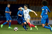 Karen Carney (England) (Chelsea) runs with the ball during the Women's International Friendly match between England Ladies and Italy Women at Vale Park, Burslem, England on 7 April 2017. Photo by Mark P Doherty.