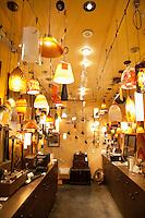 Lighting equipments on display in lights store