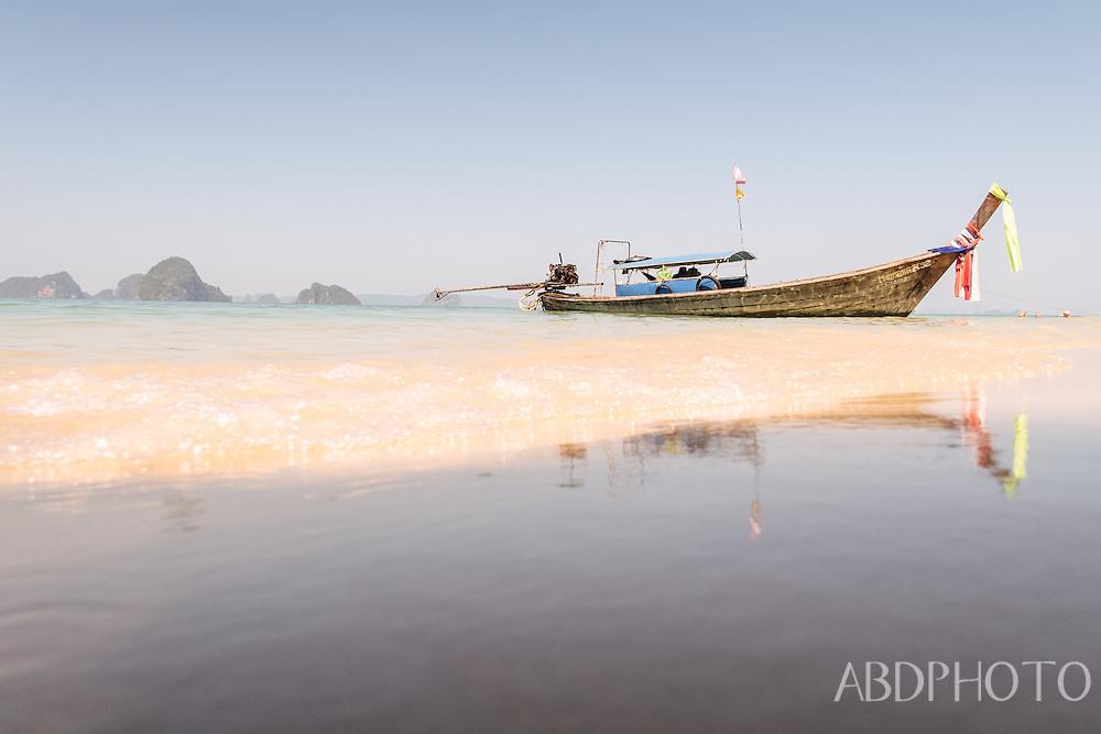 longtail boats in khlong muang krabi thailand