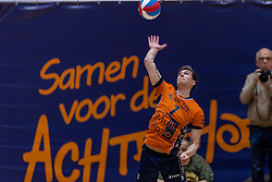 13-04-2019 NED: Achterhoek Orion - Draisma Dynamo, Doetinchem<br /> Orion win the fourth set and play the final round against Lycurgus. Dynamo won 2-3 / Pim Kamps #7 of Orion