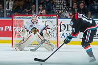 KELOWNA, CANADA - OCTOBER 20: Cole Kehler #31 of the Portland Winterhawks defends the net and watches the shot of Dillon Dube #19 of the Kelowna Rockets on October 20, 2017 at Prospera Place in Kelowna, British Columbia, Canada.  (Photo by Marissa Baecker/Shoot the Breeze)  *** Local Caption ***