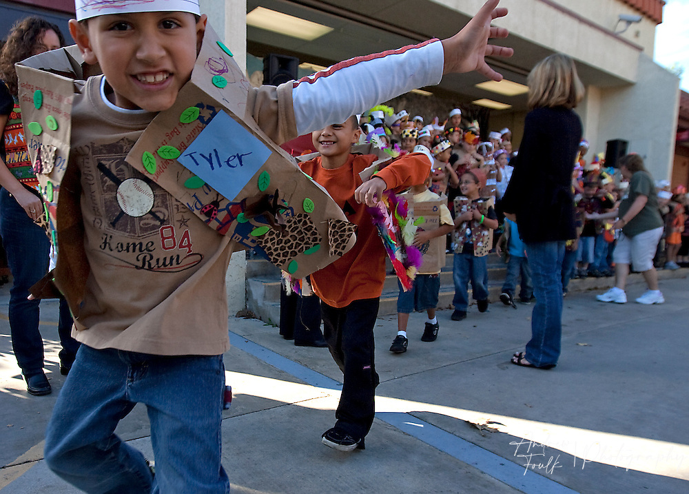 "/Andrew Foulk/ For The Californian/ .Tyler VerHoede, a first grader at Avaxat Elementary jumps and acts like a wild animal during the schools ""Wild Rumpus"" where students dressed up as characters from the book ""Where the Wild Things Are""."