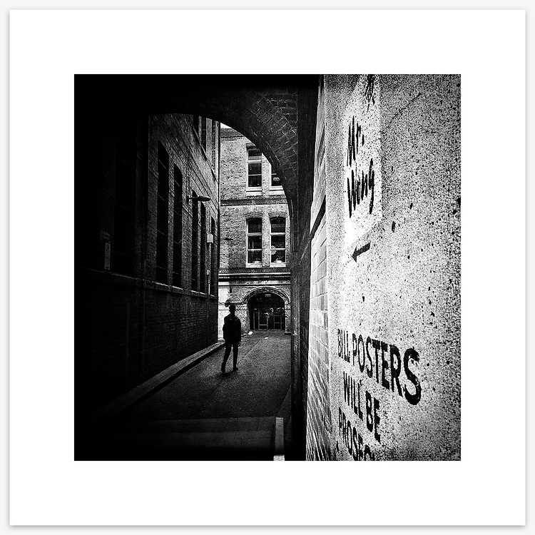 &quot;Bridge Lane&quot;, Sydney. From the Ephemeral Sydney street series.<br /> <br /> As featured in my Head On Photo Festival 2018 associated exhibition &ldquo;Ephemeral Sydney&rdquo;.<br /> <br /> Available print sizes (unframed): <br /> <br /> 30 x 30 cm - Limited edition of six (6) signed &amp; numbered pigment ink prints on Hahnem&uuml;hle Photo Rag Bright White archival paper + maximum two (2) artist&rsquo;s proofs - $220<br /> <br /> Framed prints available for delivery to Sydney metro area. POA.<br /> <br /> Price includes GST &amp; delivery within Australia.<br /> <br /> To order please email orders@girtbyseaphotography.com