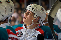 KELOWNA, CANADA - JANUARY 19: Dallon Wilton #15 of the Kelowna Rockets stands at the bench and watches the replay on the jumbotron against the Prince Albert Raiders  on January 19, 2019 at Prospera Place in Kelowna, British Columbia, Canada.  (Photo by Marissa Baecker/Shoot the Breeze)