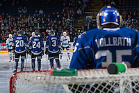 KELOWNA, CANADA - JANUARY 2: The Kelowna Rockets line up against the Victoria Royals on January 2, 2016 at Prospera Place in Kelowna, British Columbia, Canada.  (Photo by Marissa Baecker/Shoot the Breeze)  *** Local Caption ***