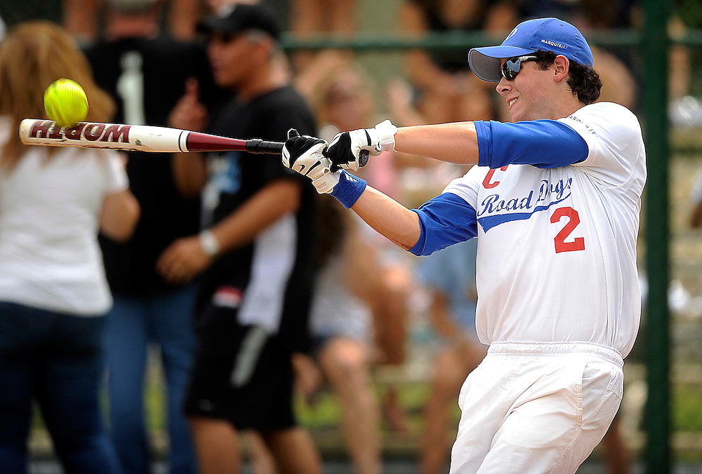 "AUGUST 19, 2009 BOCA RATON FLORIDA- Nick Jonas, of the Jonas Brothers, bats during their softball game against the Marquis Flyers. The Jonas Brothers and their team, the ""Road Dogs"" took part in the softball game which was being held by Marquis Jet at the Saint Andrews School in Boca Raton, Fla. Marquis Jet has held 9 other softball games around the country as their company team the ""Marquis Flyers"" competes in for fun games against various teams. PHOTO BY JOSH RITCHIE"