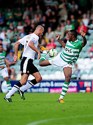 Yeovil Town's Gozie Ugwa tries to disposes Doncaster Rovers' Rob Jones with a fancy flick - Photo mandatory by-line: Dougie Allward/Josephmeredith.com  - Tel: Mobile:07966 386802 01/09/2012 - SPORT - FOOTBALL - League 1 -  Yeovil  - Huish Park -  Yeovil Town v Doncaster Rovers