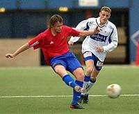 Vallhall 21.04.2003. Fotball herrer, 1. divisjon. Skeid Fotball mot FK Haugesund (3-1). Stig Kallestad (t.v) og Kjetil Rødahl.<br /> Foto: Geir Egil Skog, Digitalsport