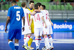 Players of National team of Spain celebrate goal during futsal match between National teams of Ukraine and Portugal at Day 6 of UEFA Futsal EURO 2018, on February 4, 2018 in Arena Stozice, Ljubljana, Slovenia. Photo by Urban Urbanc / Sportida