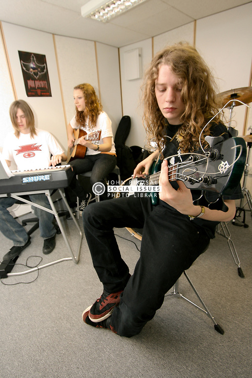 Students on Music Practice course in rehearsal room at Barnet College North London