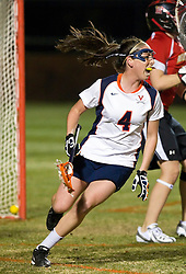 Virginia M Julie Gardner (4) celebrates after scoring a goal against UMD.  The #3 ranked Maryland Terrapins defeated the #2 ranked Virginia Cavaliers in NCAA Women's Lacrosse 17-11 at Klockner Stadium on the Grounds of the University of Virginia in Charlottesville, VA on March 6, 2009.
