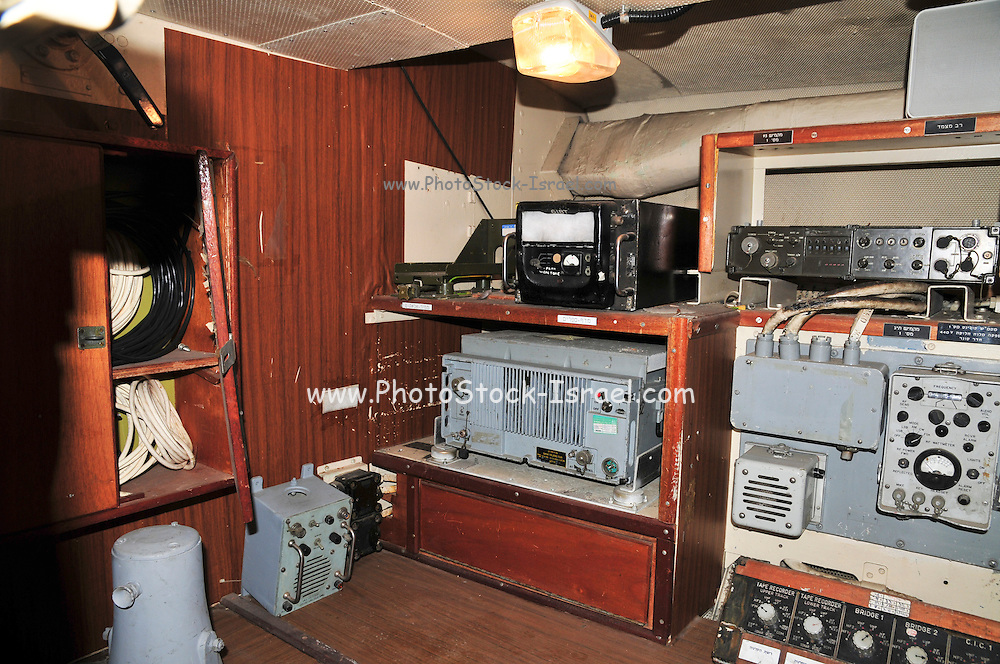Israel, Haifa, The Clandestine Immigration and Navy Museum Interior of the Israeli Navy Missile boat INS Mivtach Communication room