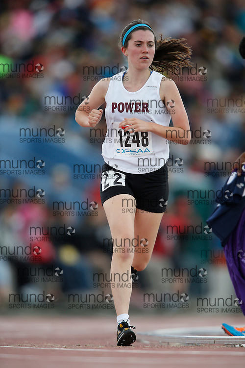 Alexandra Clarke of Michael Power/St.Joseph-Etobic competes in the senior girls 3000m at the 2013 OFSAA Track and Field Championship in Oshawa Ontario, Saturday,  June 8, 2013.<br /> Mundo Sport Images/ Geoff Robins