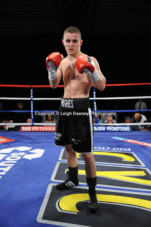 Joe Hughes (pictured) defeats Tony Pace's debut fight in a Light Welterweight contest at the Doncaster Dome, Doncaster, UK, 3rd September 2011. Frank Maloney Promotions. Photo credit: Leigh Dawney 2011