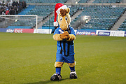 Gillingham mascot Tommy Trueblue looking festive with his Santa hat, before the EFL Sky Bet League 1 match between Gillingham and Wycombe Wanderers at the MEMS Priestfield Stadium, Gillingham, England on 15 December 2018.