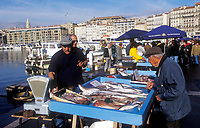 "fish mongers in the ""Vieux port"" of Marseille, France"