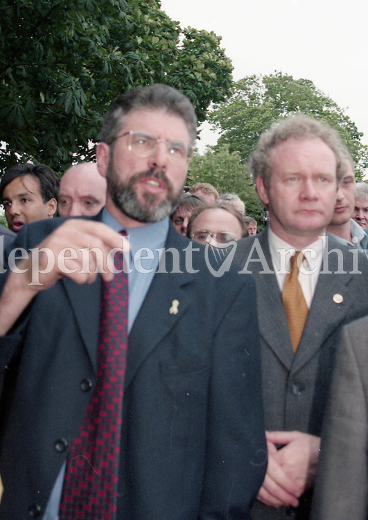 Gerry Adams and Martin McGuinness in Omagh after the Omagh Bombing,16/08/1998 (Part of the Independent Newspapers Ireland/NLI Collection).