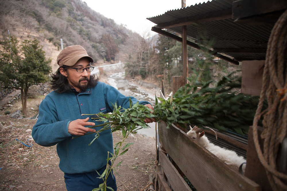 Ryo Igarashi tells the  story of his imagraition to Nanmoku to take up small scale farming.where  he  raises Chikens ,Goats ar vegtables. in his rented farmhouse in Nanmoku, Gunma Prefecture Japan.. (in the  background is Ishii Takahiko woh works for the  city helping to find new residents.<br /> <br /> Namoku is A  mountian Village in Gunma  prefecture less than  a two hour  drive from  Tokyo Allows a  glimpse into the  future of Japan's rural communities, faced with a growing aged population the small town of Nanmoku (pop 22,000 has a population  of which 58% is over the  age of 65. elementary school built for  up to  400 students now has 27 with only two  enrolled in 1st grade and zero in 3rd.  Town officials have with the  help of  National government is offering property and assistance for anyone willing to  relocate  here hoping to attract more families to it;s aging  community.