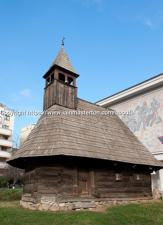 Old wooden church on display at Museum of the Romanian Peasant in Bucharest Romania