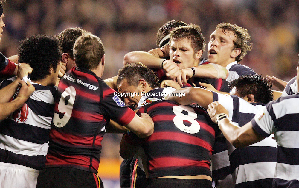 A fight breaks out during the Canterbury v Auckland NPC match at Eden park, Saturday 2 October 2004. Canterbury won 28 - 20<br />PHOTO: Brett Mead/PHOTOSPORT