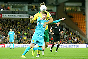 Burton Albion's Joe Mason under pressure during the EFL Sky Bet Championship match between Norwich City and Burton Albion at Carrow Road, Norwich, England on 12 September 2017. Photo by John Potts.