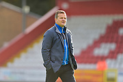 Forest Green Rovers manager, Mark Cooper checks the pitch before kick off during the EFL Sky Bet League 2 match between Stevenage and Forest Green Rovers at the Lamex Stadium, Stevenage, England on 21 October 2017. Photo by Adam Rivers.