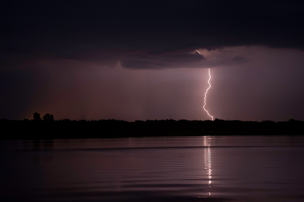 Thunderstorm in the Tisza lake in Hortobagy National Park, Hungary