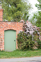 a pink clematis montana growing over a red brick wall by a green gate.
