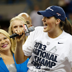 Apr 9, 2013; New Orleans, LA, USA; Connecticut Huskies center Stefanie Dolson (31) talks into a mic after the championship game in the 2013 NCAA womens Final Four against the Louisville Cardinals at the New Orleans Arena. Connecticut defeated Louisville 93-60. Mandatory Credit: Derick E. Hingle-USA TODAY Sports