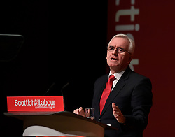 Shadow Chancellor John McDonnell delivers the keynote speech on the final day of the Scottish Labour conference at the Caird Hall in Dundee.