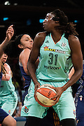 Tina Charles #31 of the New York Liberty drives to the basket against the Phoenix Mercury during the second round of the WNBA Playoffs at Madison Square Garden in New York on September 24, 2016. (Cooper Neill for The New York Times)