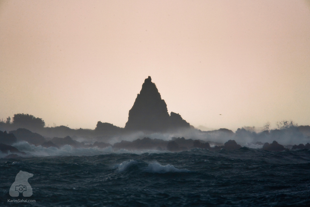 The jagged rocks of Moa Point on a stormy day, Wellington, New Zealand