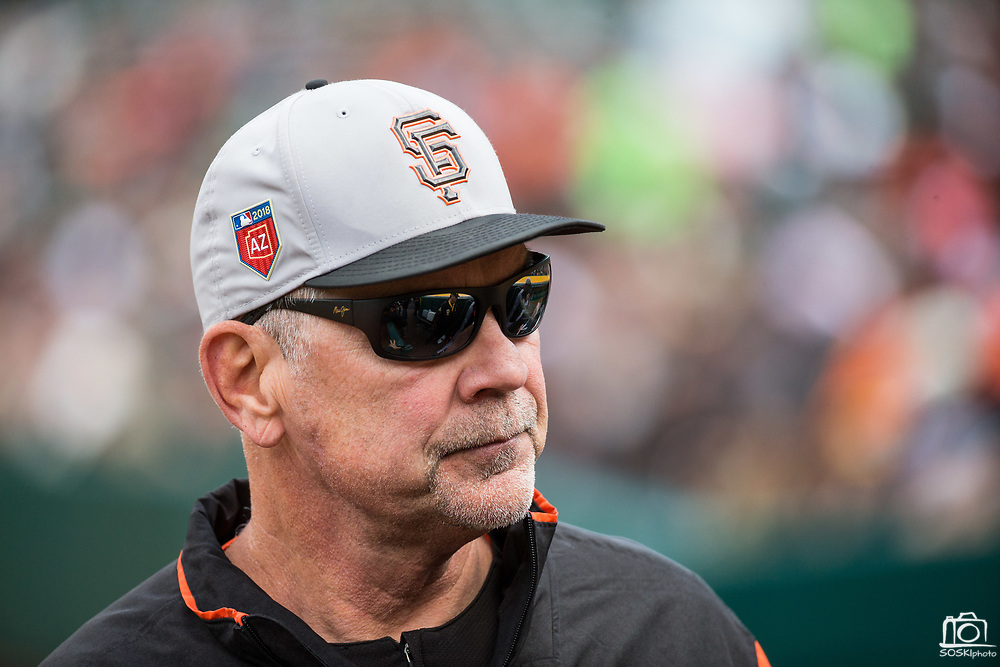 San Francisco Giants manager Bruce Bochy (15) watches as his team takes on the Oakland Athletics at Oakland Coliseum in Oakland, California, on March 25, 2018. (Stan Olszewski/Special to S.F. Examiner)