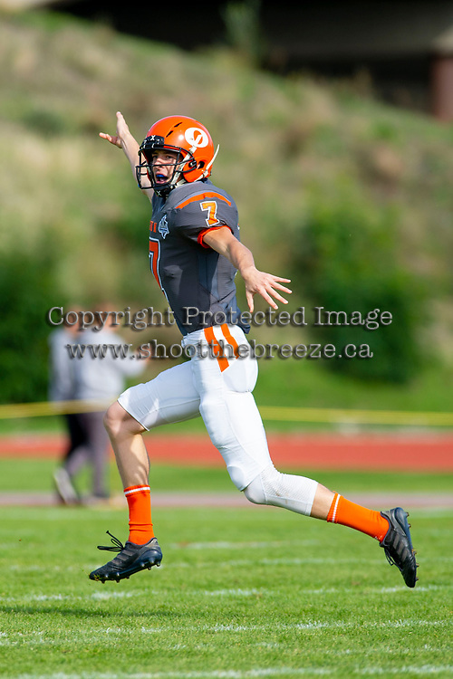 KELOWNA, BC - OCTOBER 6:  Isaac Wegner #7 of Okanagan Sun celebrates a field goal against the VI Raiders during BCFC regular season at the Apple Bowl on October 6, 2019 in Kelowna, Canada. (Photo by Marissa Baecker/Shoot the Breeze)