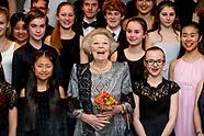 Prinses Beatrix is aanwezig bij het Europees Kamermuziekconcert in het Koninklijk Conservatorium. Le