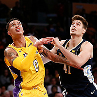 02 October 2017: Los Angeles Lakers forward Kyle Kuzma (0) vies for the rebound with Denver Nuggets forward Juan Hernangomez (41) during the Denver Nuggets 113-107 victory over the LA Lakers, at the Staples Center, Los Angeles, California, USA.