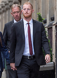 © Licensed to London News Pictures. 08/08/2018. Bristol, UK. England cricketer BEN STOKES arrives at Bristol Crown court for the third day of his trial on charges of affray that relate to a fight outside a Bristol nightclub on September 25 2017. Stokes and two other men, Ryan Ali, 28, and Ryan Hale, 27, all deny the charge. Stokes, Ali and Hale are jointly charged with affray in the Clifton Triangle area of Bristol on September 25 last year, several hours after England had played a one-day international against the West Indies in the city. A 27-year-old man allegedly suffered a fractured eye socket in the incident. Photo credit: Simon Chapman/LNP