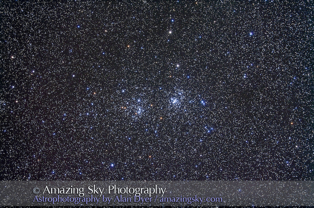 NGC 884 and 869 (right) open clusters in Perseus Taken Nov 6, 2010 with 105mm A&M apo refractor at f/5 with Borg .85x flattener/reducer and Canon 5DMkII at ISO 800 for stack of 5 x 10 minute exposures, Mean combined. Used Celestron CGEM mount and Sky-Watcher SynGuider on William Optics 66mm guidescope. All seemed to work well.