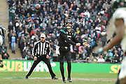 Jacksonville Jaguars Blake Bortles QB (5) throws a pass during the International Series match between Jacksonville Jaguars and Philadelphia Eagles at Wembley Stadium, London, England on 28 October 2018.