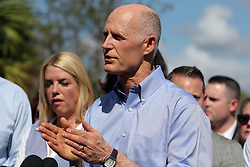 Governor Rick Scott speaks during a news conference on Thursday, February 15, 2018, near Marjory Stoneman Douglas High School in Parkland, FL, USA, where where 17 people were killed Wednesday. Photo by Amy Beth Bennett/Sun Sentinel/TNS/ABACAPRESS.COM