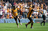 Abel Hernandez of Hull City (left) celebrates after scoring his team's 2nd goal to make it 2-1 during the Sky Bet Championship match at KC Stadium, Hull<br /> Picture by Russell Hart/Focus Images Ltd 07791 688 420<br /> 07/05/2016