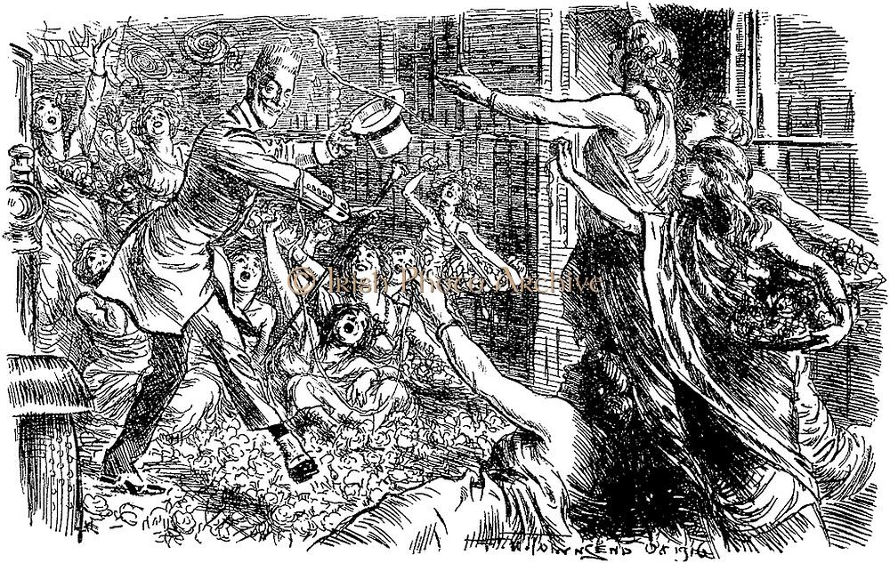 Satirical cartoon of german Chancellor betthman Hollweg
