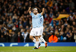 Manchester City's Sergio Aguero celebrates scoring his side's first goal of the game during the UEFA Champions League round of 16 second leg match at the Etihad Stadium, Manchester.