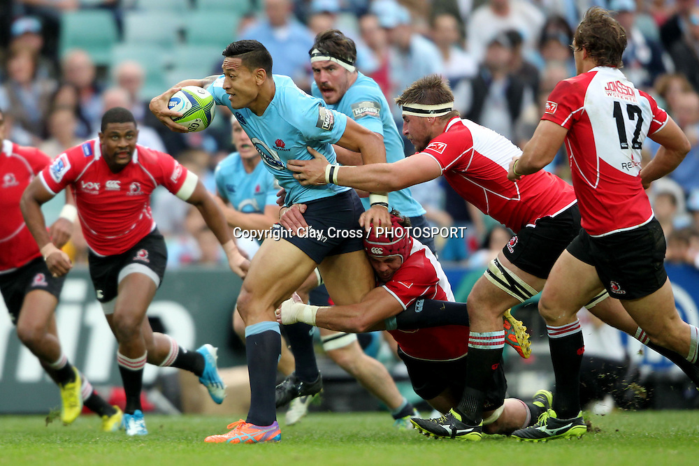 Israel Folau during the NSW Waratahs v Lions 2014 Super Rugby round 14 match. Allianz Stadium, Sydney. Sunday 18 May 2014. Photo: Clay Cross / photosport.co.nz